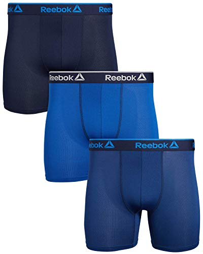 Reebok Men's Performance Boxer Briefs with Functional Fly (3 Pack) (Small, Navy/Blue/Dark Blue)'