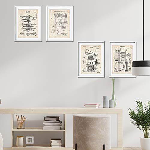 Nacnic Musikinstrument Patent Poster 4er-Set. Vintage Stil Wanddekoration Abbildung von Konzert und Alte Erfindungen. Verschiedene musikalische Instrumentsteile Bilder ohne Rahmen. Größe A4.