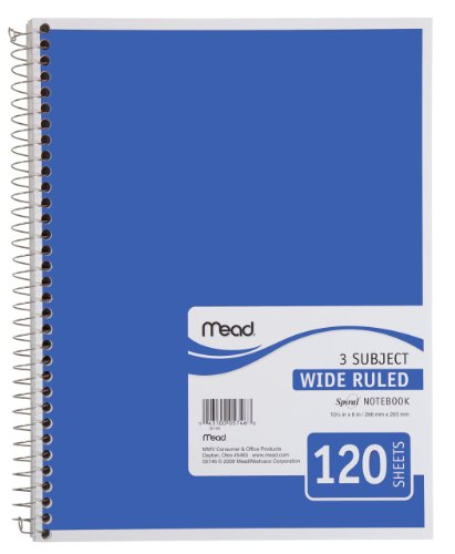 Mead Spiral Notebook, 3 Subject, Wide Ruled Paper, 120 Sheets, 10-1/2 x 7-1/2 inches, Blue (72223)