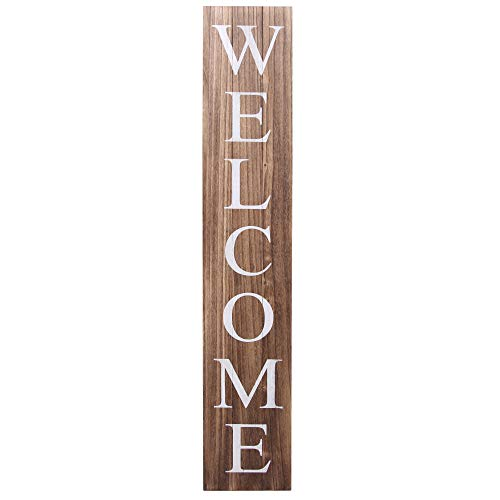 ALBEN Welcome Sign for Front Door Porch – 5 Feet Tall, Vertical Wooden Outdoor and Indoor Welcome Home Decor Sign Wall Decorations (Brown)