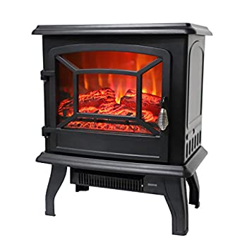 ROVSUN 20  H Electric Fireplace Stove Space Heater 1400W Portable Freestanding with Thermostat Realistic Flame Logs Vintage Design for Corners 110V 17  L x 9  W x 20  H CSA Approved