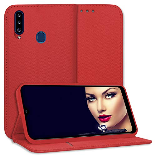 mtb more energy® Schutz-Tasche Bookstyle für Samsung Galaxy A20s (SM-A207, 6.5'') - rot - Kunstleder - Klapp-Cover Hülle Wallet Hülle