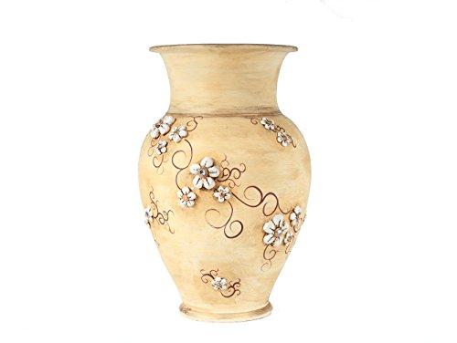 Le Ceramiche Del Re , Giara Portaombrelli in Ceramica, Vaso da Interno H 50 Design Elegante con Fiori