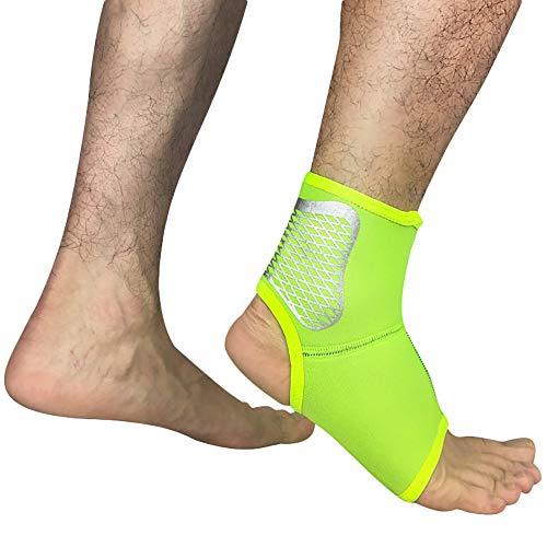 TIREOW Fußbandage Sprunggelenkbandage Knöchelbandage Männer Frauen Badminton Elastische Kompression Fußwickel Knöchelbandage zur Linderung von Sportschmerzen (L, Grün)