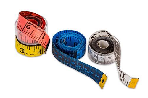4er Set Maßband je 150cm lang - 4 Farben - aus flexiblem Fiberglas - mit Dosen - Inch & cm - Schneidermaßband Bandmaß Messband - für Körper-Umfang, Nähen etc