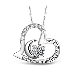 "√【ULTRACLEAR SIMULATED DIAMOND】 High Quality Cubic Zirconia (CZ) has been cleverly and perfectly set on the 0.91*0.87"" heart pendant. 18"" length fully illustrates your beauty around neckline. √【JEWELRY BOX READY FOR GIFT】 All items are well packed an..."