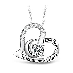 """√【ULTRACLEAR SIMULATED DIAMOND】 High Quality Cubic Zirconia (CZ) has been cleverly and perfectly set on the 0.91*0.87"""" heart pendant. 18"""" length fully illustrates your beauty around neckline. √【JEWELRY BOX READY FOR GIFT】 All items are well packed an..."""