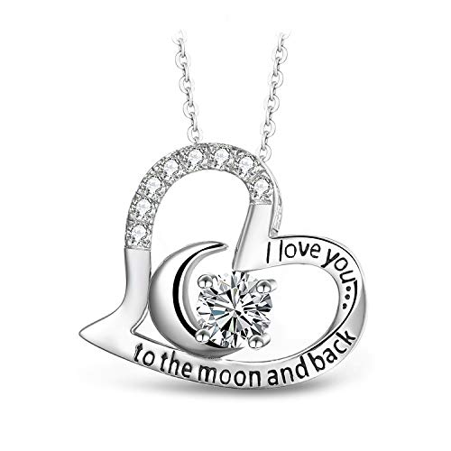 T400 Jewelers Sterling Silver Necklace I Love You to The Moon and Back Zirconia Heart Pendant Birthday Gifts for Women,18' Chain