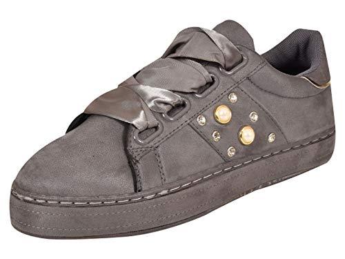 Loyalty & Faith - Sneaker da donna in velluto con lacci, Grigio (Ls0393 Grigio Su), 38 EU