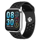 Smartwatch Fitness Tracker Uhr Armbanduhr Schrittzähler Blutdruckmessung Uhr Pulsuhr Schlafmonitor Wasserdicht SMS Anruf Jugendlichen Damen Herren IOS ab 8,0 Android ab 4,4 Große: M (Schwarz)