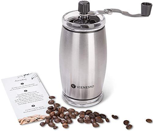 VIENESSO Hand-Kaffeemühle mit Keramikmahlwerk - manuelle Espressomühle mit stufenlose Mahlgradeinstellung, besonders leicht mit 35g Füllmenge, umweltfreundlich + robust + langlebig + E-Book! (Silber)