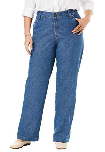 Woman Within Women's Plus Size Wide Leg Cotton Jean - 16 W, Medium Stonewash