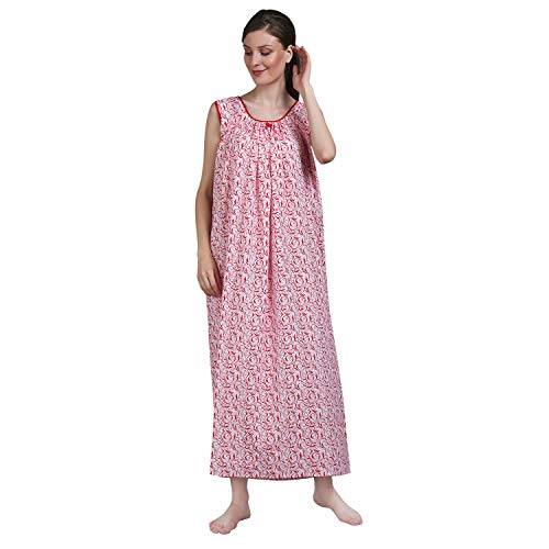Shararat Women's Sleevless Printed Cotton Nighty | Sleeveless Nightwear Night Gown for Ladies (Red)