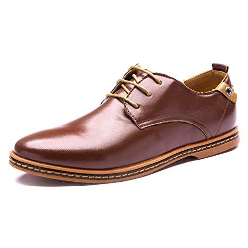 Minetom® Negocios ocasional atan para arriba Oxford Derby de cuero liso Altura aumento de zapatos punta estrecha para Hombres marrón 8