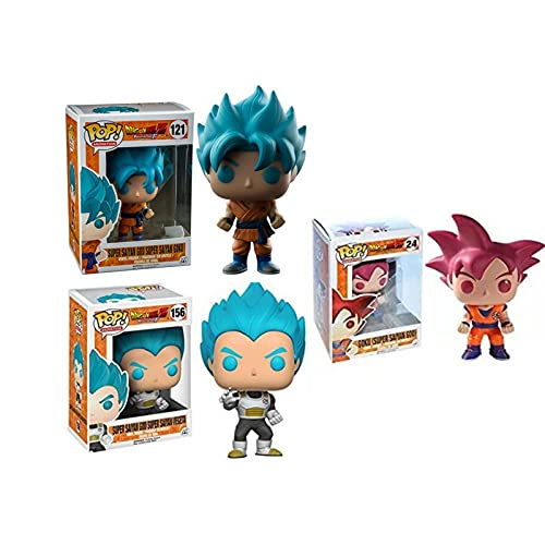 3Pcs / Funko Pop Cartoon Anime Game Dragon Ball Series Dragon Ball Q Versión Red Hair Goku Blue Hair Vegeta Figura Juguetes Populares 10Cm, Regalos para Niños