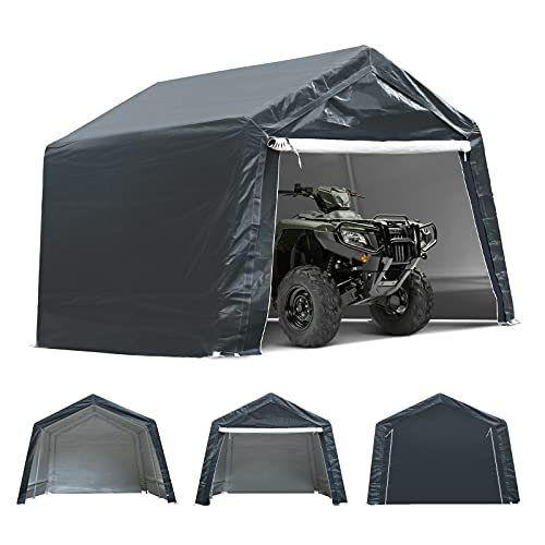 7x12x7.4 Ft Portable Garage Tent Kit Outdoor Carport Canopy Storage Shelter Shed with Detachable Roll-up Zipper Door for Motorcycle Gardening Vehicle ATV Storage, Ultimate Gray