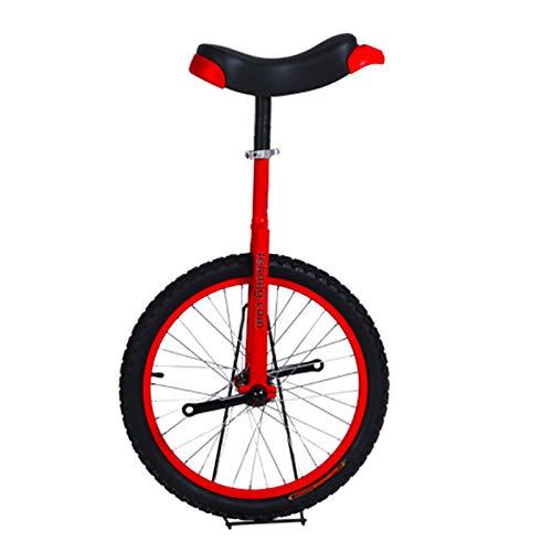 Einrad Kinder Einrad Mit 16 Zoll / 18 Zoll /20 Zollrutschfestes Rad, Schulkinder Radfahren Gleichgewichtsübung Einstellbare Höhe Lerntraining, Rot,18in