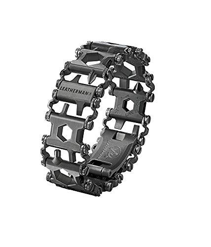Leatherman Tread - Pulsera multiusos con 29 herramientas incluyendo destornilladores, llaves hexagonales e inglesas, herramienta de bricolaje hecha en EE.UU., en negro, acero inoxidable