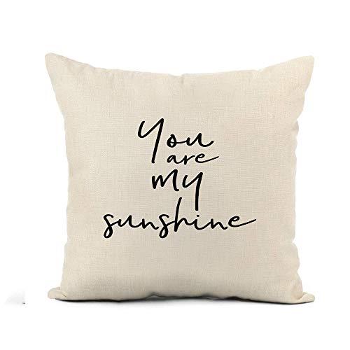 N\A Throw Pillow Cover Abstract Lettering Ink Pincel Moderno You Are My Sunshine Funda de Almohada Decoración del hogar Funda de Almohada de Lino de algodón Cuadrada Funda de cojín