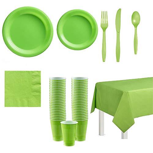 Vajilla de decoración de fiesta en 5 colores diferentes - Para 20 invitados vasos, platos y servilletas, cubiertos y manteles (Style 2)