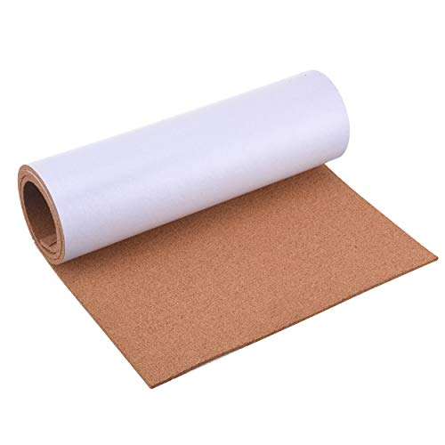 "SUNGIFT Cork Board Roll 1/4"" Thick - 50""x16"" Cork Rolls Self-Adhesive Bulletin Boards Natural Cork Tiles with 100 Push Pins Mini Wall Strips Frameless Corkboards for Wall"