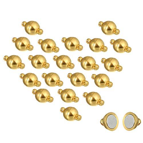 REKYO 20 Packungen Halskette Armband Magnetische Verschlüsse Für Ketten , Schmuck Magnetverschluss Für Halskette Armband Machen (Gold 6mm)