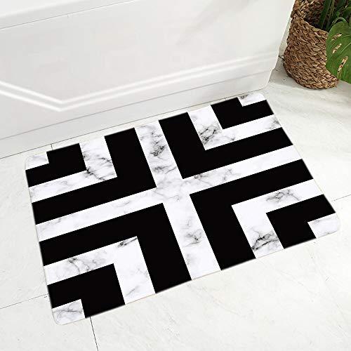 OPLJ Alfombra Abstracta geométrica en Blanco y Negro, Alfombra Suave Estampada Antideslizante, decoración de Estilo nórdico, Felpudo para Suelo A9 40x60cm