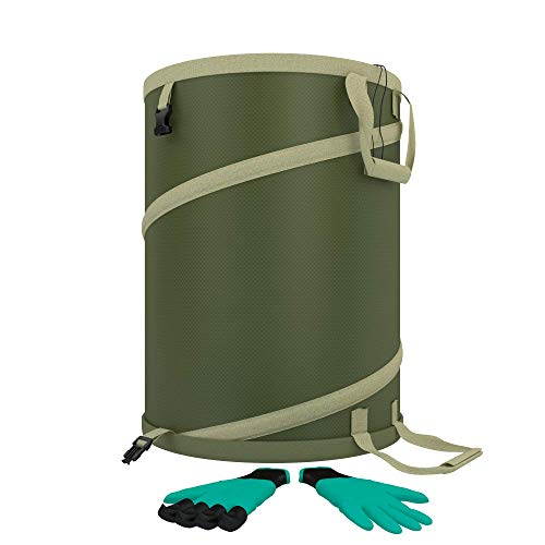 Ezisoul Garden Bag - Large Heavy Duty Canvas Reusable Yard Bags Great for The Trash Laundry and Tool Utility Collapsible Storage Comes Complete with Modern Gardening Gloves