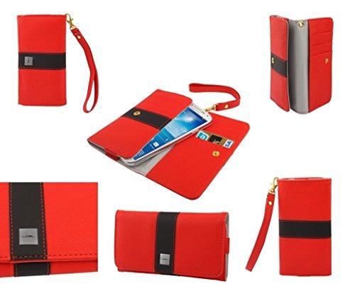 DFVmobile - Etui Tasche Schutzhülle aus Premium mit Motiv Liniendesign mit Kartenfächer für JIAYU G2F - Rot