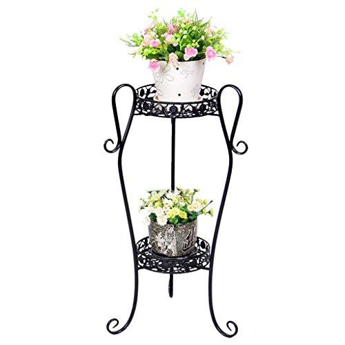 Ali@ Étagère de fleur de balcon de plancher de cadre de fleur de style européen multi - étages Pots (Couleur : NOIR, taille : 32 * 21.5 * 66cm)