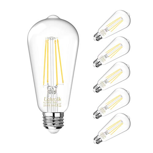 Uchrolls Vintage Edison Light Bulb ST58, E27 Base,6W (Equivalent to...