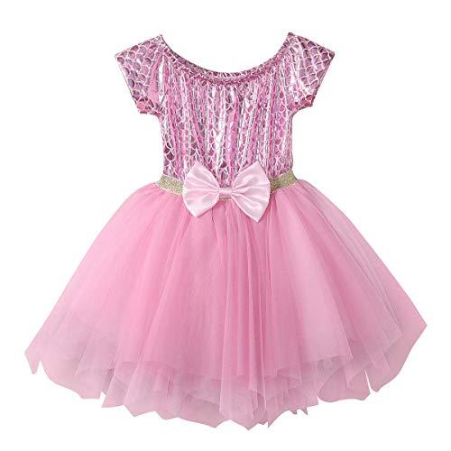 IBAKOM - Vestido para beb, diseo de sirena, princesa Ariel con lentejuelas brillantes rosa 18-24 Meses