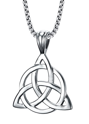 Stainless Steel Irish Celtic Triquetra Triangle Trinity Knot Pendant Necklaces for Men, 24' Rolo Chain