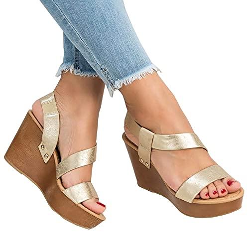 DGHJK 2021 Nuevas Sandalias de Plataforma para Mujer Sandalias con Tiras de Dedo con Soporte de Arco Oculto Sandalias de Plataforma Informal