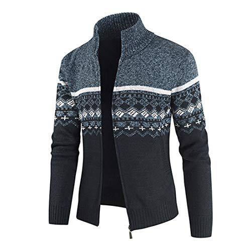 Coat Men Jacket Men Casual Stand-Up Collar Windproof Business Men Jacket Autumn New Zipper Cotton Blend Men Jacket Fashion Men's Clothing D-Blue M