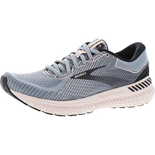 Brooks Womens Transcend 7 Running Shoe - Grey/Black/Hushed Violet - B - 7.5