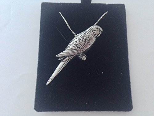 B41Wellensittich Anhänger echt 925Sterling Silber Halskette Handarbeit 66cm Kette mit prideindetails Geschenk-Box