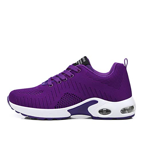 Dannto Zapatos Deporte Mujer Zapatillas Deportivas Correr Gimnasio Casual Zapatos para Caminar Mesh Running Transpirable Aumentar Más Altos Sneakers (Morado-B,38)