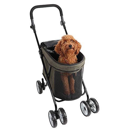 StaySmart Cochecito Para Perros y Gatos Carrito Para Mascotas Pequeñas Ultraligero Tamaño Pequeño y Peso Ligero, Manillar Ajustable Adecuado Para que lo Empujen Niños y Adultos