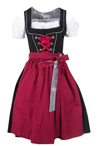 Ramona Lippert® Damen-Dirndl, Pia rot - 3-teiliges Dirndlkleid für Frauen, hochwertige Trachtenmode (44)