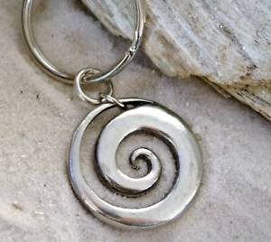 Pewter Maori Spiral Koru Peace and Tranquility Keychain Key Tag