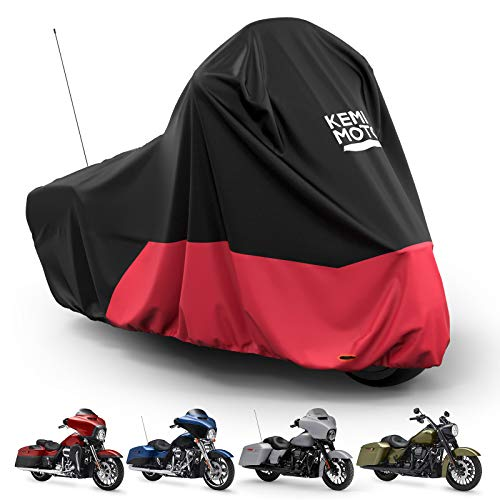 Kemimoto Motorcycle Cover, Dirt Bike Cover, for Touring Models Road King Street Glide Road Glide Waterproof Impermeable Outdoor All Weather Protect from Dust Sunlight Rain, Black