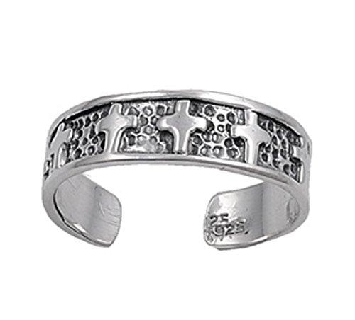 7K Zehenring aus 925 Sterling Silber als Fußschmuck für Damen, Herren und Mädchen, Größenverstellbar, Kreuz 2