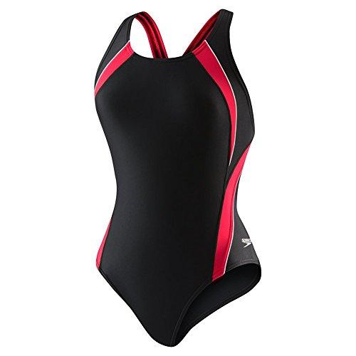 Speedo Women's PowerFLEX Eco Taper Splice Pulse Back One Piece Swimsuit, Black/Red, 28