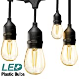 addlon LED Outdoor String Lights 48FT with 2W Dimmable Edison Vintage Plastic Bulbs and Commercial Grade Weatherproof Strand - UL Listed Heavy-Duty Decorative LED Café Patio Light, Porch Market Light
