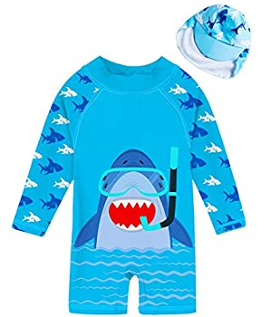 uideazone Baby Boy One Piece Sunsuit with Sun Hat Shark Surfning Suit Zip Long Sleeve Swimsuit 50+ Sun Protection