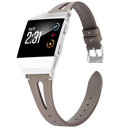 Wearlizer Compatible for Fitbit Ionic Bands Women Men, Genuine Leather Replacement Band Bracelet Compatible with Fitbit Ionic Small Large (Grey)
