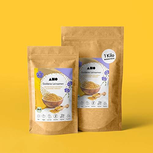 AHO Goldene Leinsamen aus deutschem Bio-Anbau 1kg | 100% Plastikfrei, Regional, Öko | Lokales Superfood (1000g)