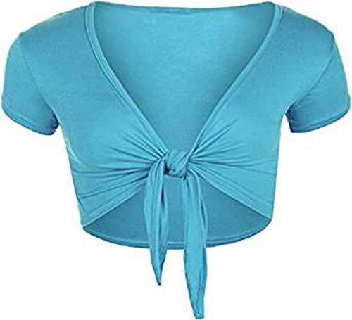 Para mujer corto Tie Up Bolero Azul turquesa Medium