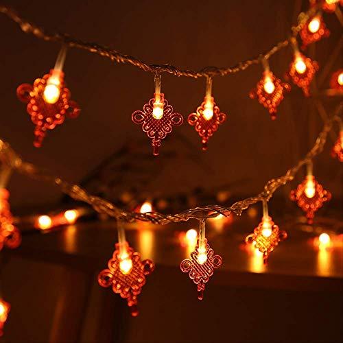 CFLFDC Guirlande Lumineuse LED Rouge Lanterne Lampe Chaîne De Lampe Chinoise Noeud 10m 100 Light Eight contrôleur de Fonction Noeuds Chinois